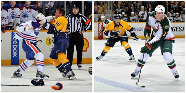 Rich Clune takes on Mike Brown, while SK74 tries to derail Ryan Suter.